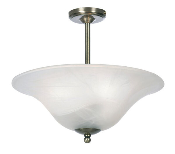 Art Deco Style 3 Lamp Semi Flush 40cm Glass Uplighter