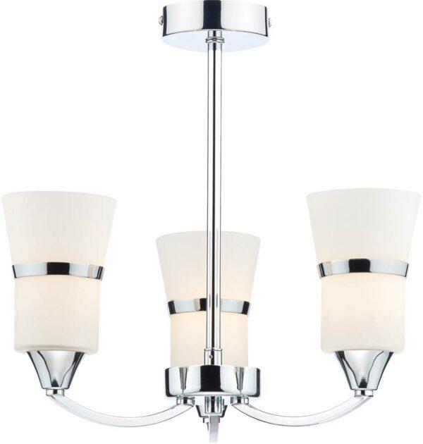 Dar Dublin Modern LED 3 Light Semi Flush Low Ceiling Light Chrome