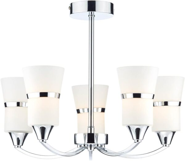 Dar Dublin Modern LED 5 Light Semi Flush Chrome