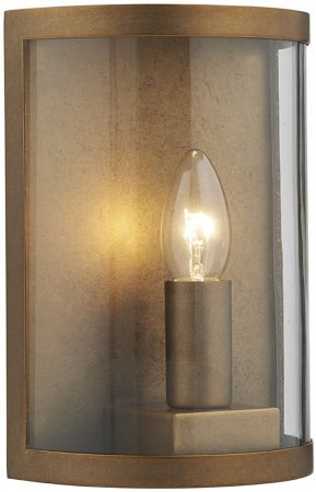 Dar Dusk Traditional 1 Lamp Outdoor Wall Lantern Aged Brass