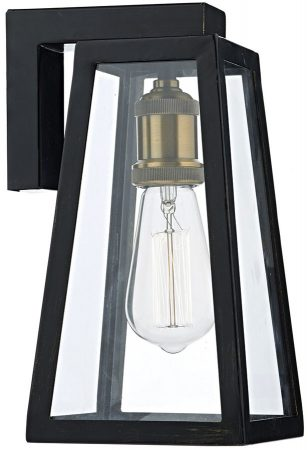 Dar Duval Traditional 1 Lamp Outdoor Wall Light Black