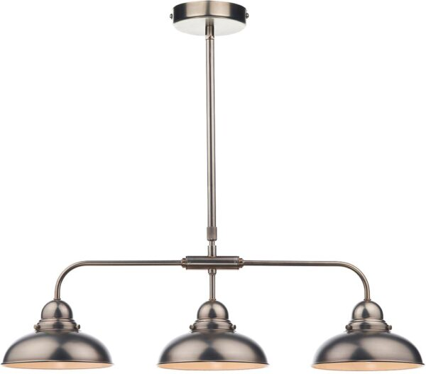 Dar Dynamo Retro Style Antique Chrome 3 Light Bar Pendant