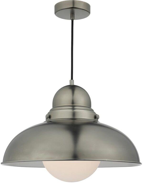 Dar Dynamo Large Retro Style Antique Chrome Pendant Light