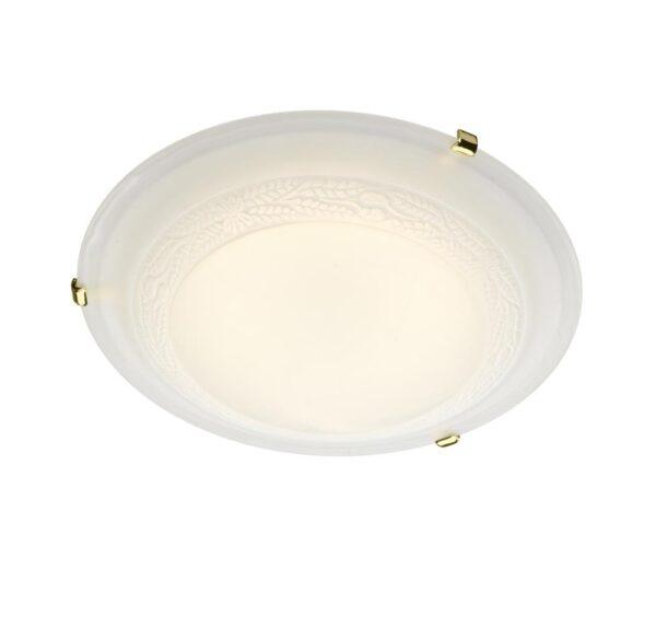 Dar Damask 1 Light 30cm Alabaster Glass Flush Mount Low Ceiling Light