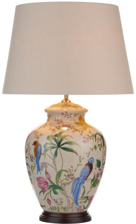 Dar Mimosa Ceramic Table Lamp Base Floral Brid Design