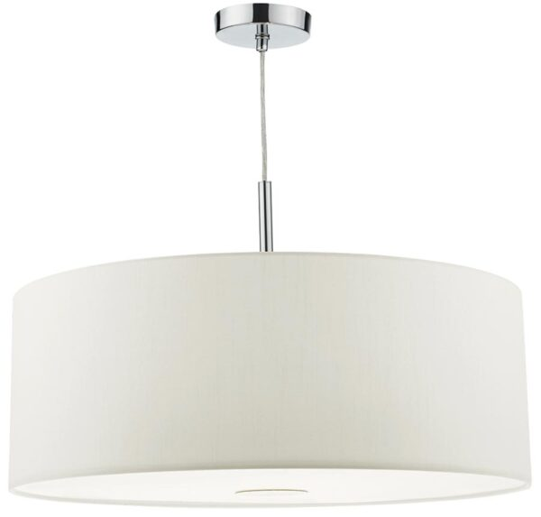 Dar Ronda 60cm White Drum Shade 3 Light Pendant With Diffuser