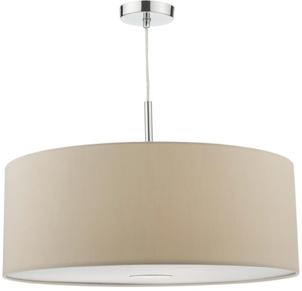 Dar Ronda 60cm Ecru Drum Shade 3 Light Pendant With Diffuser
