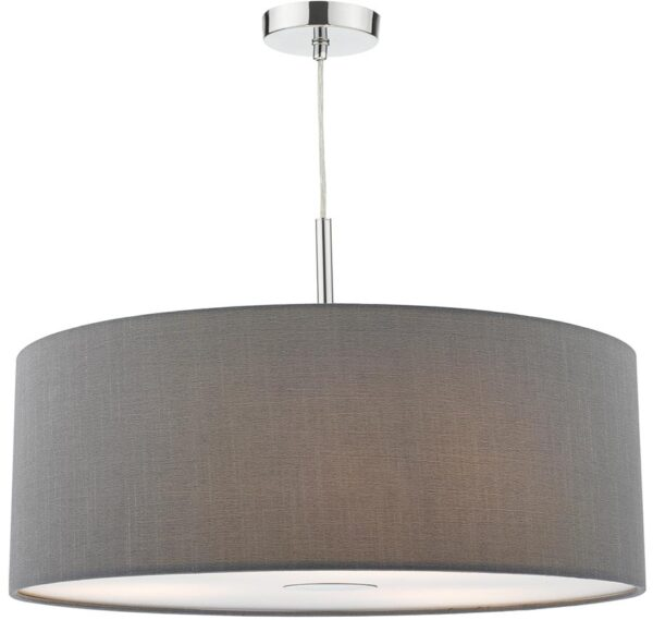 Dar Ronda 60cm Grey Drum Shade 3 Light Pendant With Diffuser