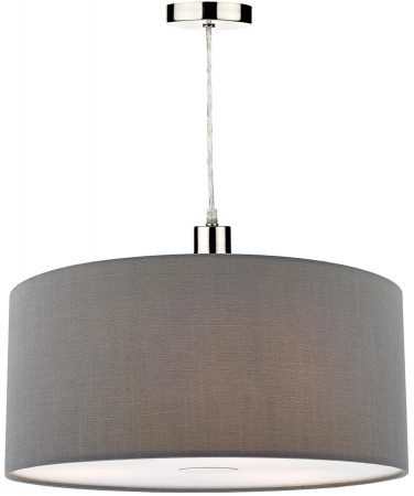 Dar Ronda 40cm Grey Drum Easy Fit Pendant Shade With Diffuser