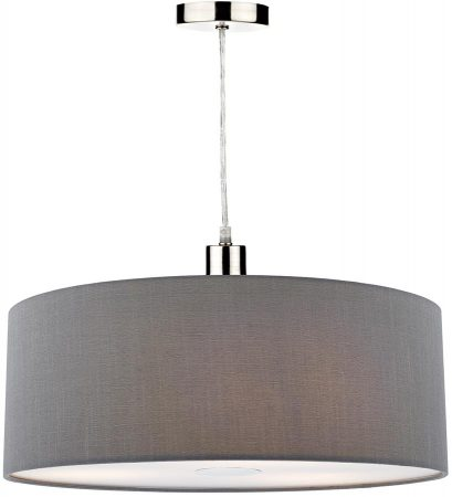 Dar Ronda 60cm Grey Drum Easy Fit Pendant Shade With Diffuser