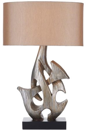 Dar Sabre Sculptured Table Lamp In Silver Wood With Shade