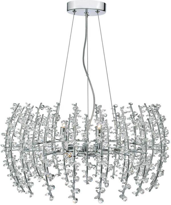 Dar Sestina Polished Chrome 6 Light Pendant With Crystal