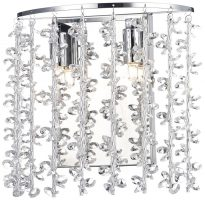 Dar Sestina Polished Chrome Switched 2 Lamp Wall Light With Crystal