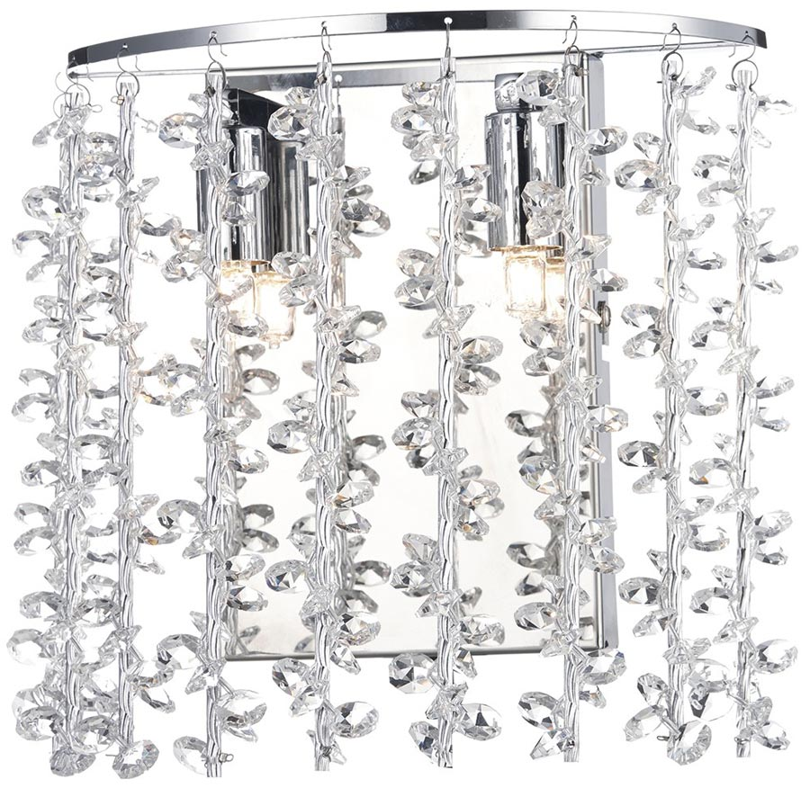 Dar Sestina Polished Chrome Switched 2 Lamp Wall Light With Crystal SES0950