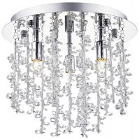 Sestina Polished Chrome 3 Light Flush Ceiling Fitting With Crystal