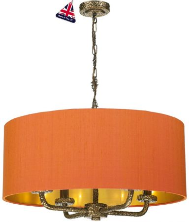 David Hunt Sloane 4 Light Silk Drum Shade Pendant Bronze