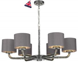 David Hunt Sloane 6 Light Dual Mount Chandelier Pewter