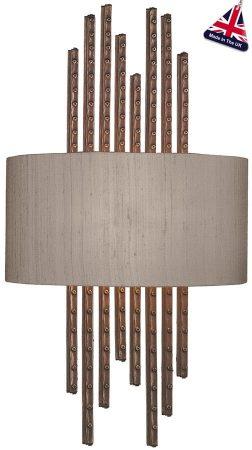 David Hunt Twain Copper Wall Light With Bespoke Silk Shade