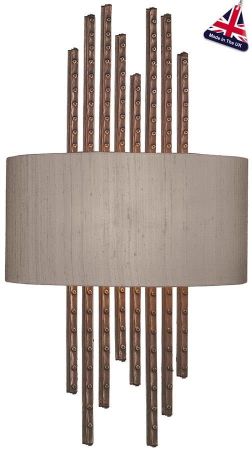 David Hunt Twain 2 Lamp Wall Light Copper Bespoke Silk Shade