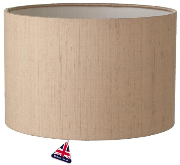 Zuton White Lined 25cm Silk Drum Lamp Shade Colour Choice