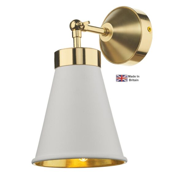 David Hunt Hyde Single Solid Polished Brass Wall Light White Shade