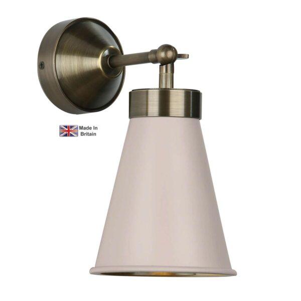 David Hunt Hyde Single Antique Brass Wall Light Cotswold Cream Shade
