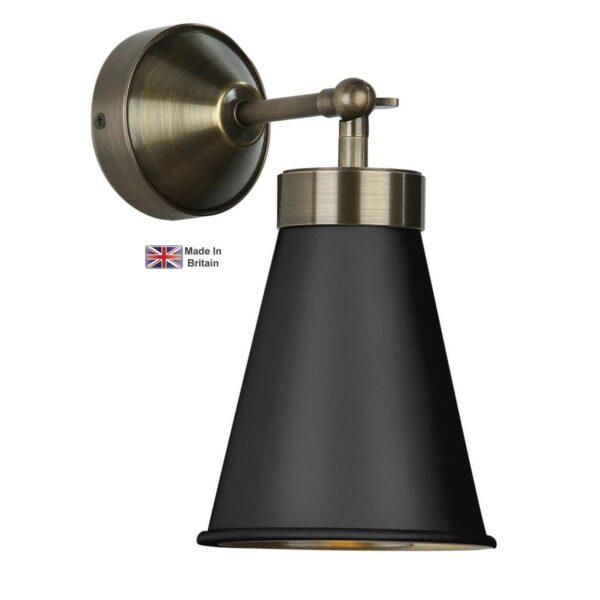David Hunt Hyde Single Solid Antique Brass Wall Light Matt Black Shade