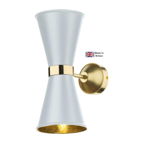 David Hunt Hyde Twin Solid Polished Brass Wall Light White Shades