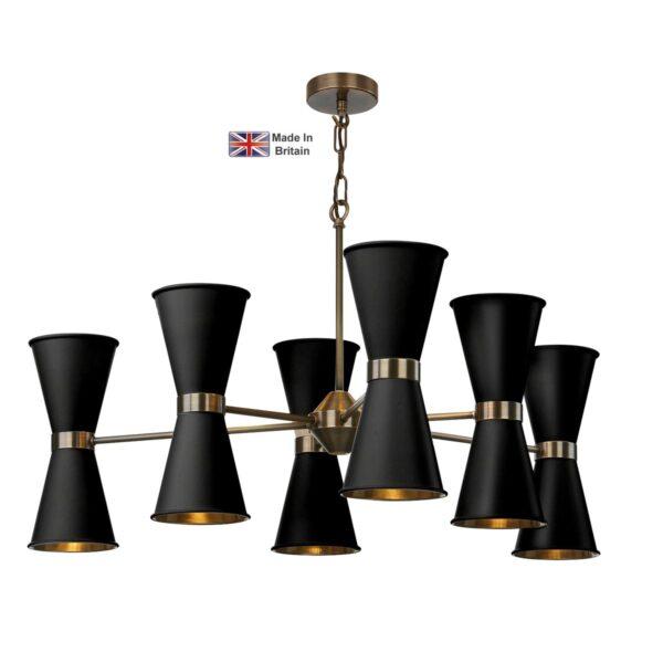 David Hunt Hyde 12 Light Solid Antique Brass Pendant Matt Black Shades