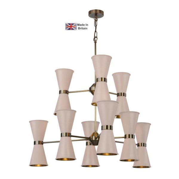 David Hunt Hyde 18 Light Antique Brass Pendant Cotswold Cream Shades