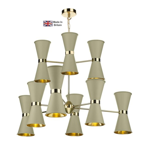 David Hunt Hyde Large 18 Light Solid Brass Pendant Pebble Shades