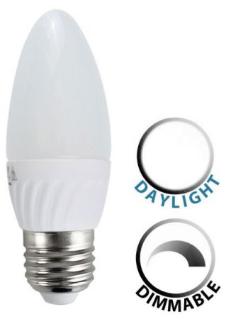 4W Dimmable LED E27 Frosted Candle Bulb Daylight White 320 Lumen