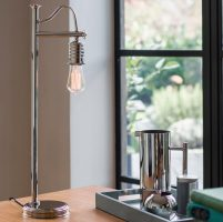 Elstead Douille 1 Light Table Lamp Polished Nickel Vintage Industrial Style