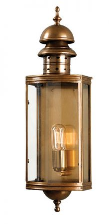 Elstead Downing Street Large Solid Antique Brass Outdoor Wall Lantern
