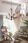 Hinkley Dunhill Royal Bronze 9 Light Chandelier With Off White Shades