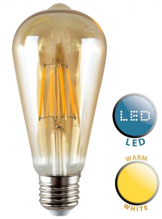 Pear Shaped E27 Filament LED Amber Light Bulb Warm White 440 Lumen