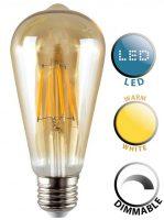 Pear E27 Dimmable Filament LED Amber Light Bulb Warm White 440 Lumen