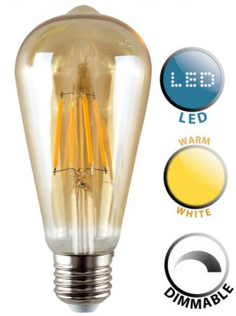Pear E27 Dimmable Filament LED Amber Light Bulb Warm White 440 Lumen