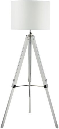 Dar Easel Tripod White Wood Floor Lamp Base With Chrome Detail