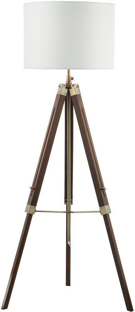 Dar Easel Tripod Dark Wood Floor Lamp Base With Brass