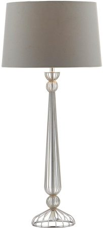 Dar Eddie Chrome Candlestick Table Lamp With Grey Shade