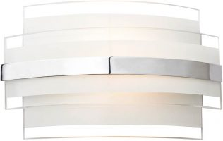 Dar Edge Small Art Deco Style Glass LED Wall Light Chrome