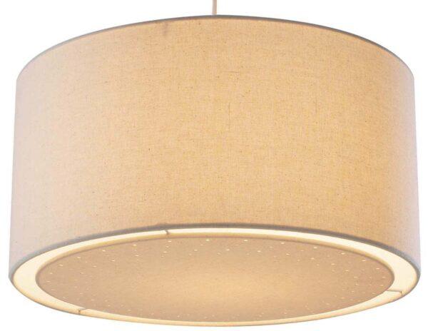 Dar Edward Cream Fabric Drum Ceiling Lamp Shade