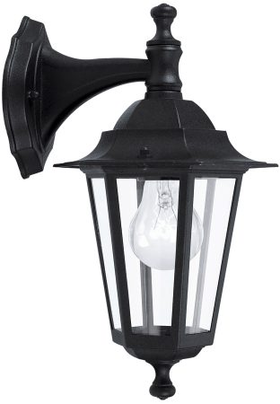 Traditional Black Outdoor Wall Light Downward Facing