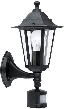 Traditional Black Outdoor Sensor Wall Light