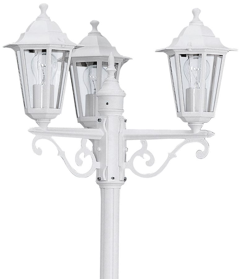 Traditional White 3 Head Garden Lamp Post 22996
