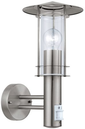Lisio Stainless Steel PIR Outdoor Wall Lantern Clear Glass IP44