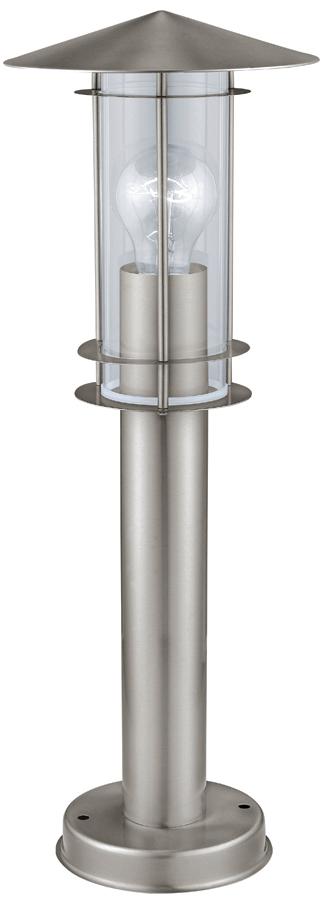 Lisio Stainless Steel Outdoor Pedestal Lantern Clear Glass IP44