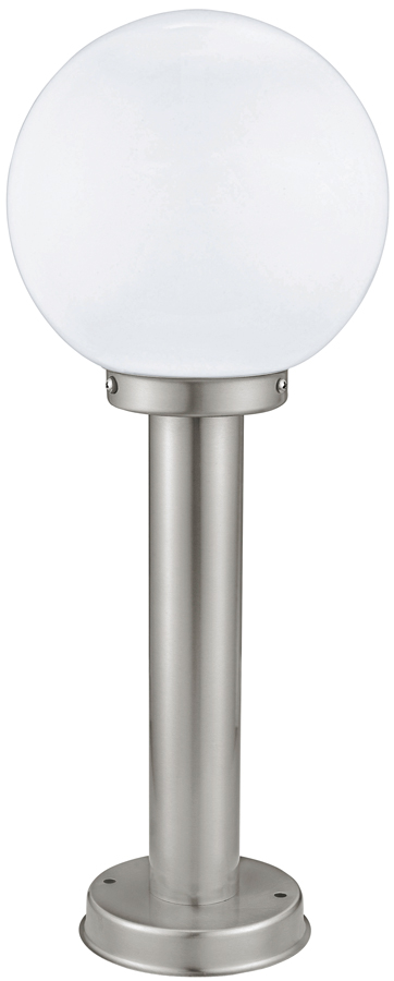 Modern globe outdoor stainless steel short post light 30206 for Contemporary outdoor post light fixtures