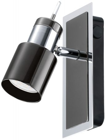 Black And Chrome LED Switched Wall Spotlight